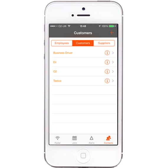 AutoAlert iPhone and iPad Monitor customer details screen