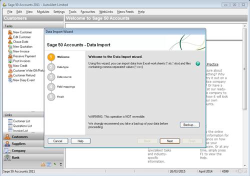Sage Line 50 Import Step 1