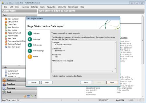 Sage Line 50 Import Step 5