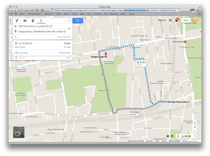 Show directions in Google maps