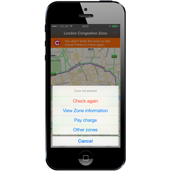 London Congestion Charge Check and Remind App