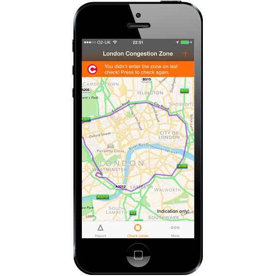 London Congestion Charge App - Did not enter zone