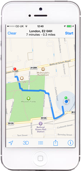 iPhone Apple Map Directions