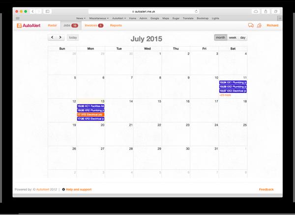AutoAlert Job Management Calendar View