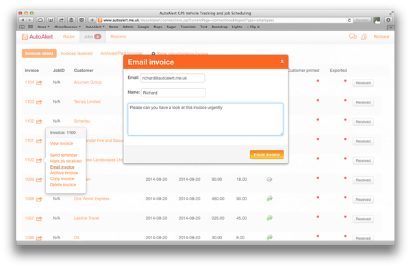 Email an invoice