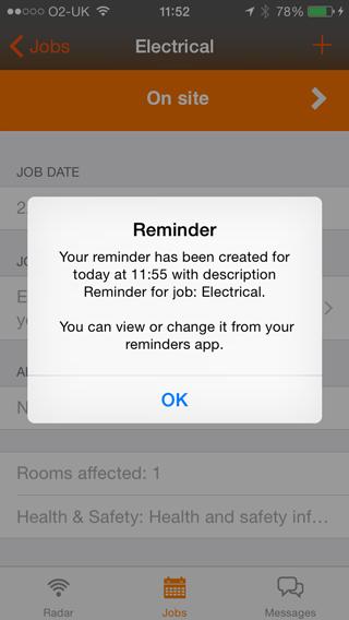Reminder created