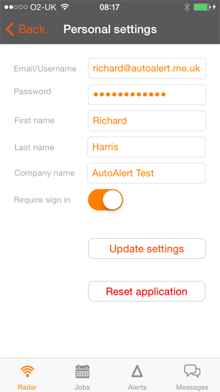Changing passwords: AutoAlert iPhone Monitor Tracking Settings screen