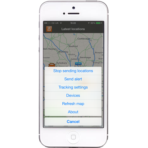 AutoAlert iPhone and iPad Monitor Options screen