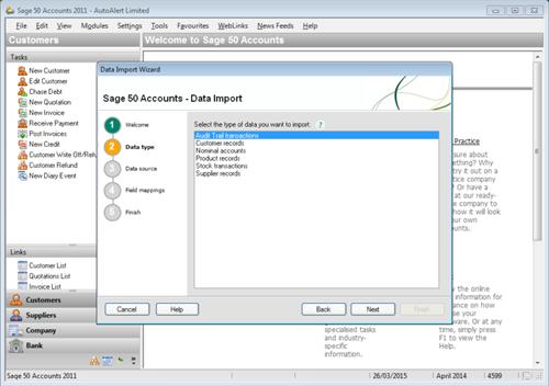 Sage Line 50 Import Step 2