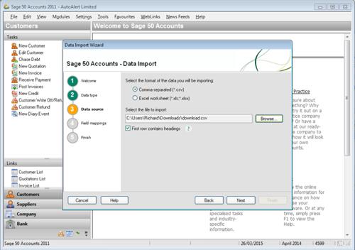 Sage Line 50 Import Step 3