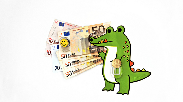 Crocodile with money