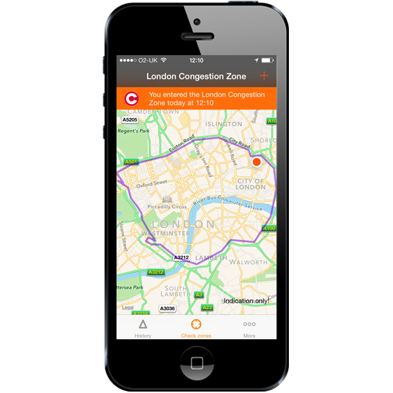 London Congestion Charge App - Entered zone