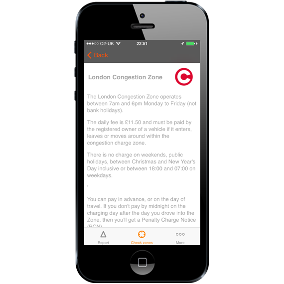 London Congestion Charge App - Congestion Charge Information