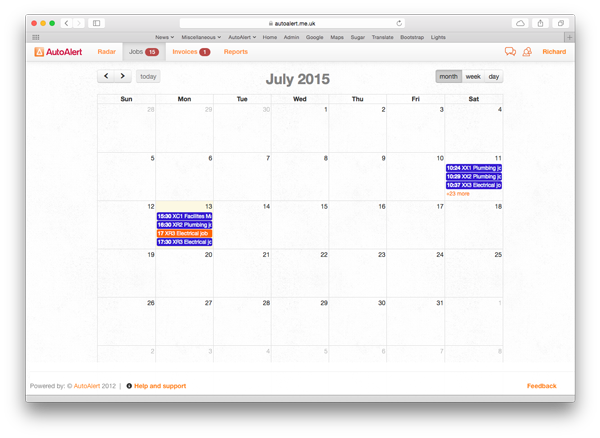 AutoAlert Job Management Calendar View